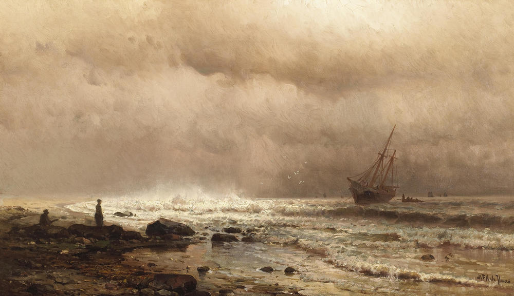 Mauritz_de_Haas_-_A_Coastal_View_with_Figures_and_a_Ship_at_Sea.jpg