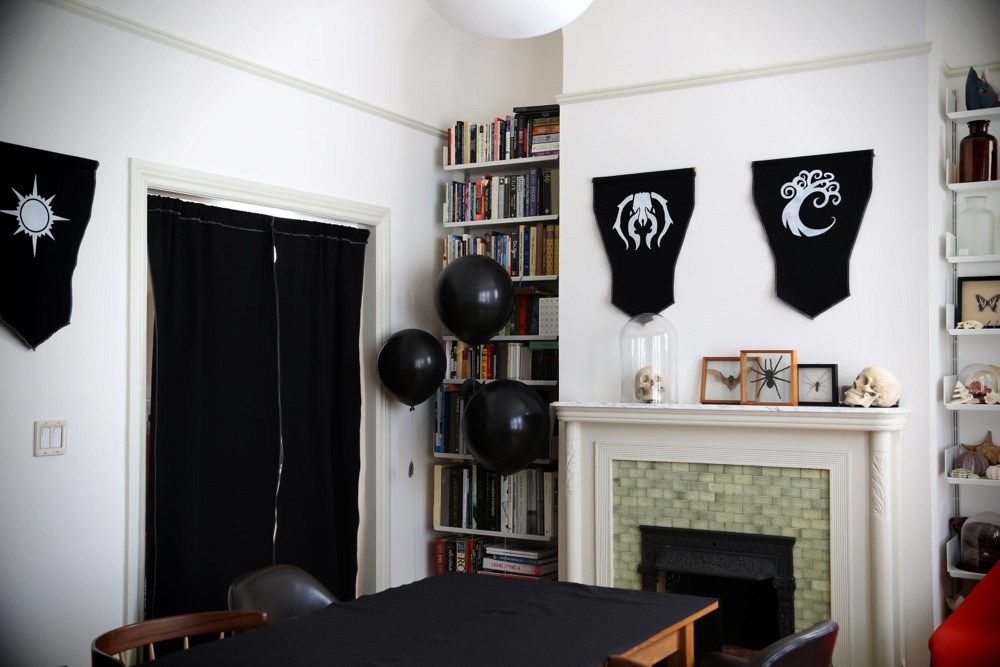 living room turned party room