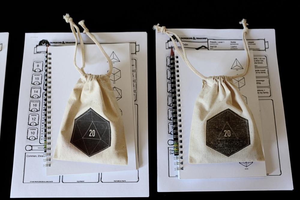 Dice bags & handmade notebooks