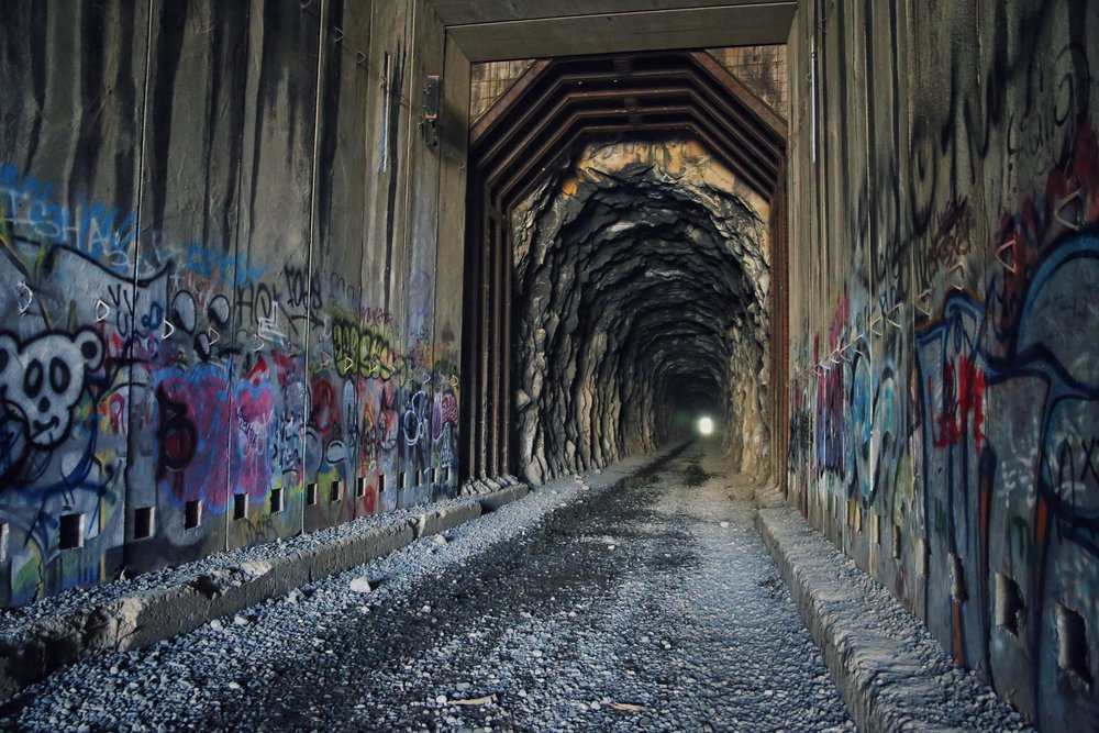 Abandoned train tunnel, Donner Summit, California.