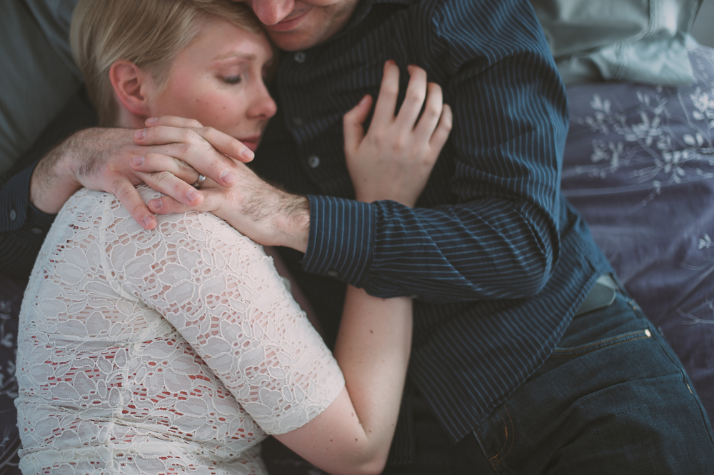 Image from a Haven Session with a beautiful couple taking a moments to breath together and embrace.
