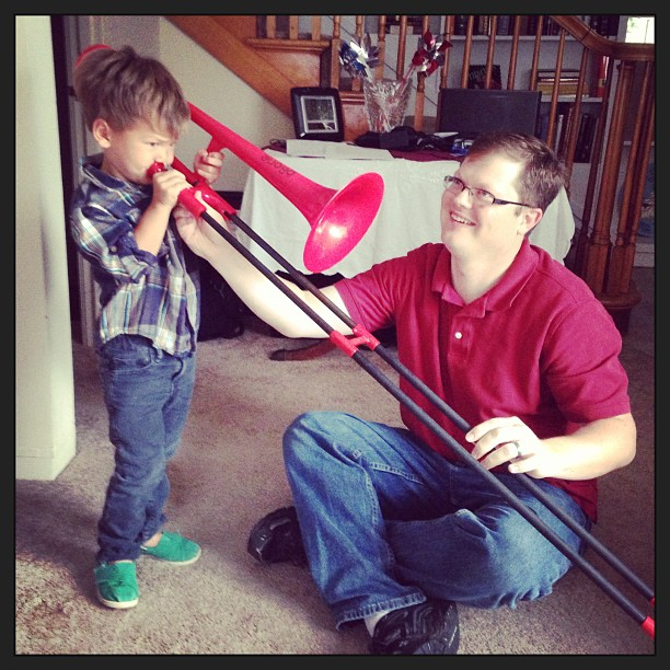 First trombone lesson! Rhys Nelsen Sept. 2013 (used with permission by  Jeff  and  Nina Nelsen )