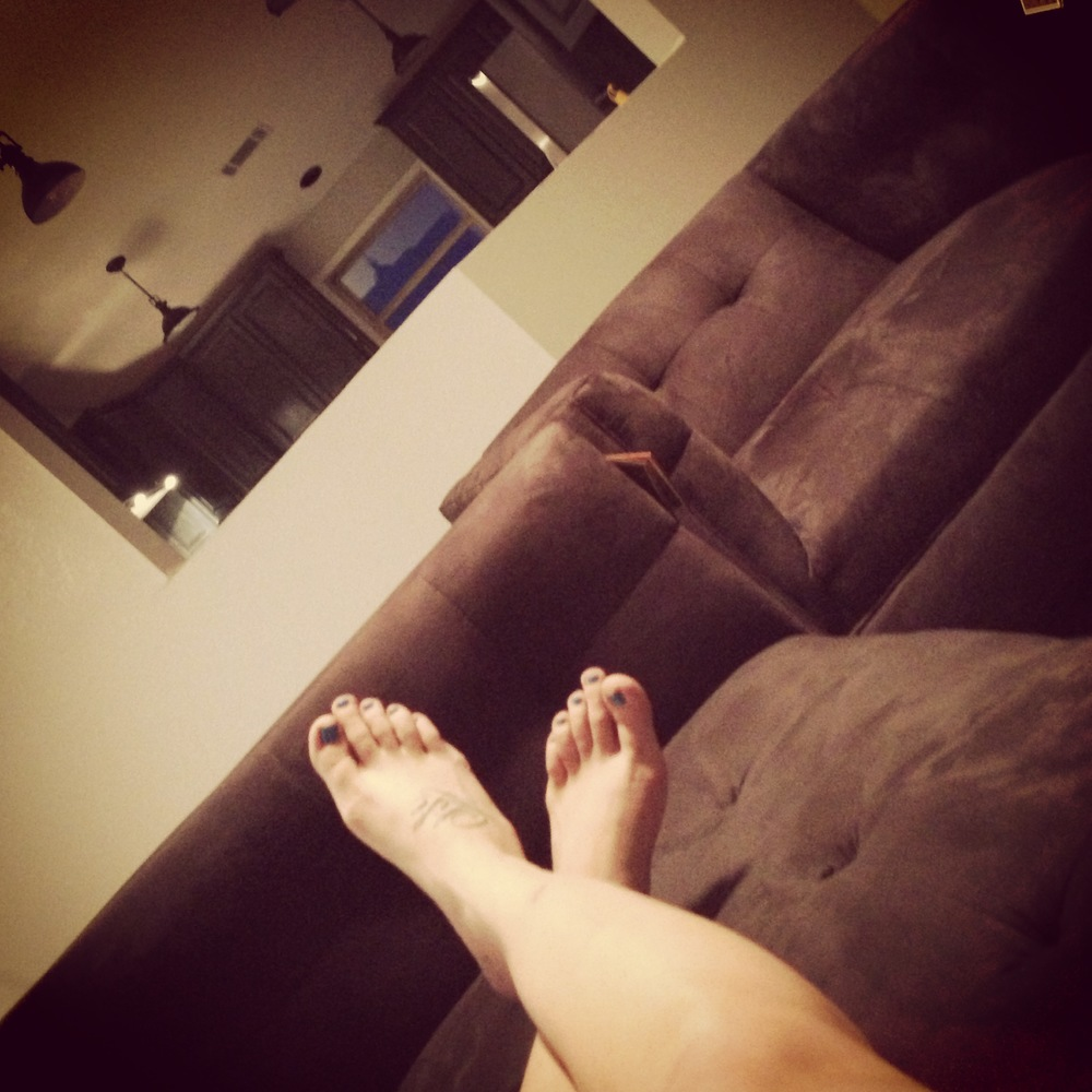 Relaxing on the new couch!!! Soon this will be a more frequent view!!!