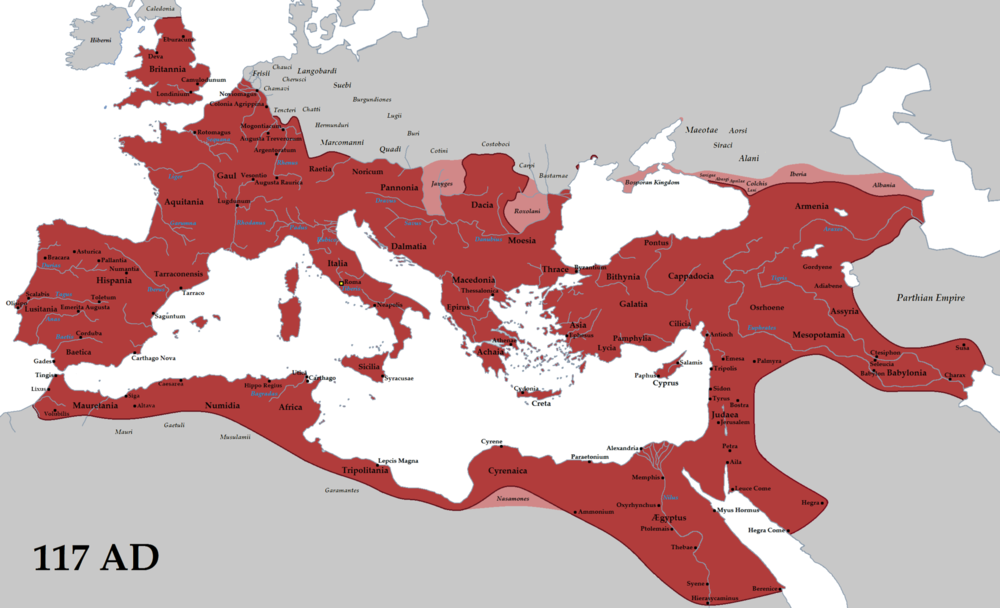 The Roman Empire at its height.