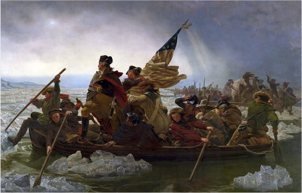 Washington Crossing the Delaware by Emanuel Leutze, MMA-NYC, 185. He probably crossed on the right side of the river, but I have found no evidence of this.
