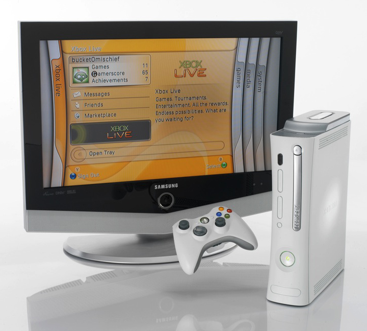 The Xbox 360 console, controller, and dashboard user interface at its launch in 2005.