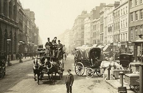 A city street circa 1890.