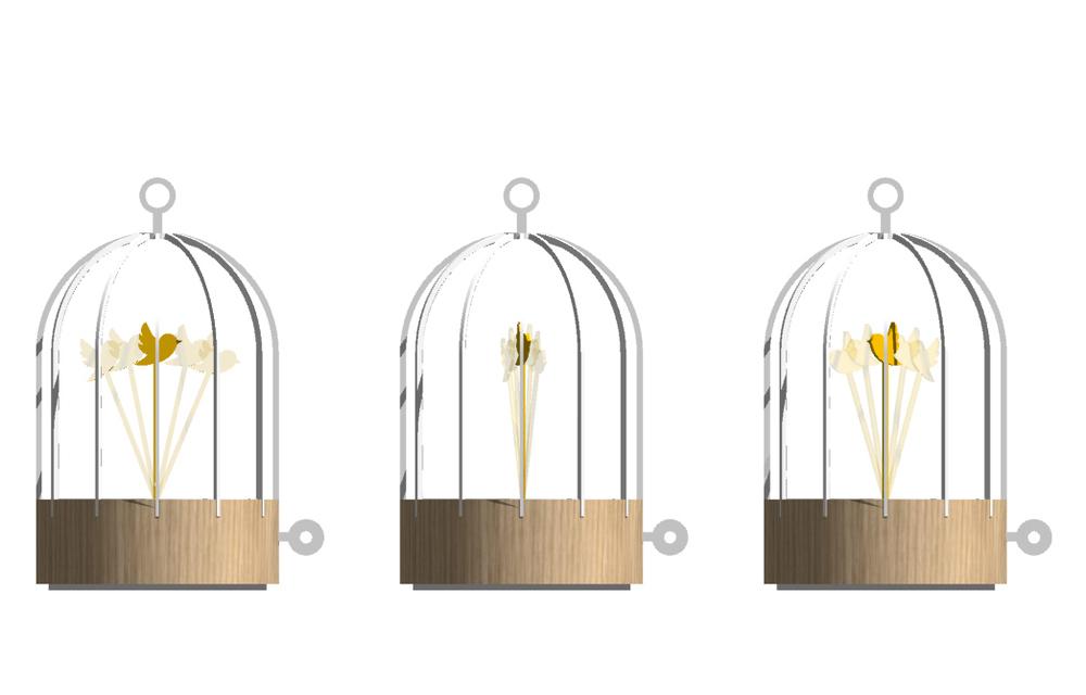 Bird cage Clock, 2013. Aluminium thermolaqué, laiton poli et bouleau massif. Scénario. Design : Dorothée Loustalot.