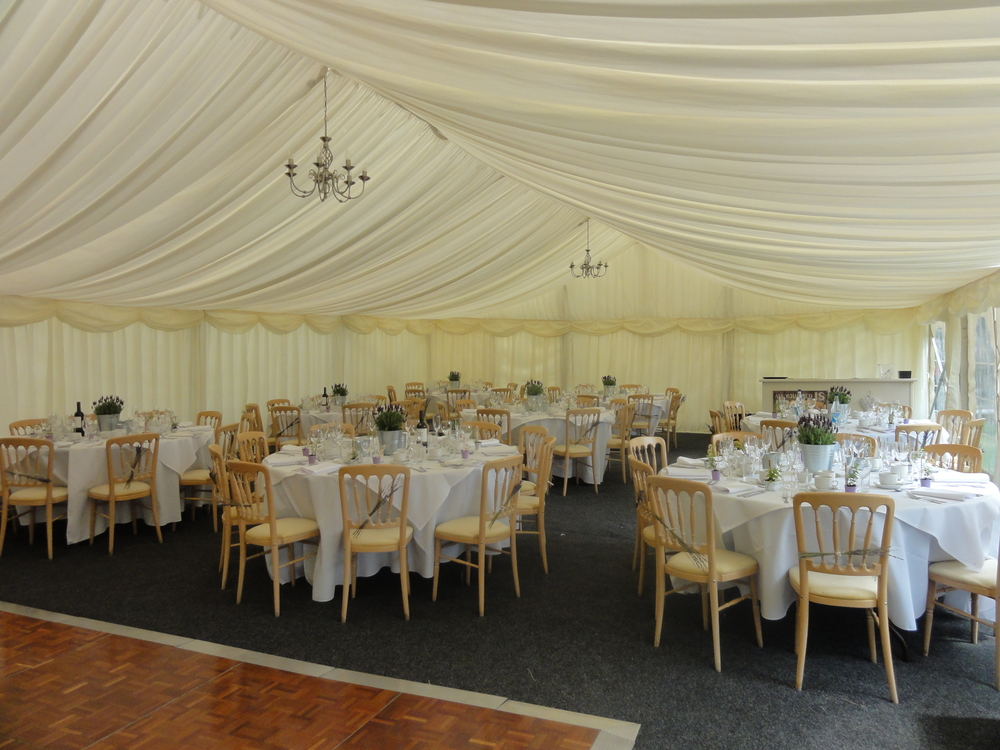 May wedding marquee interior