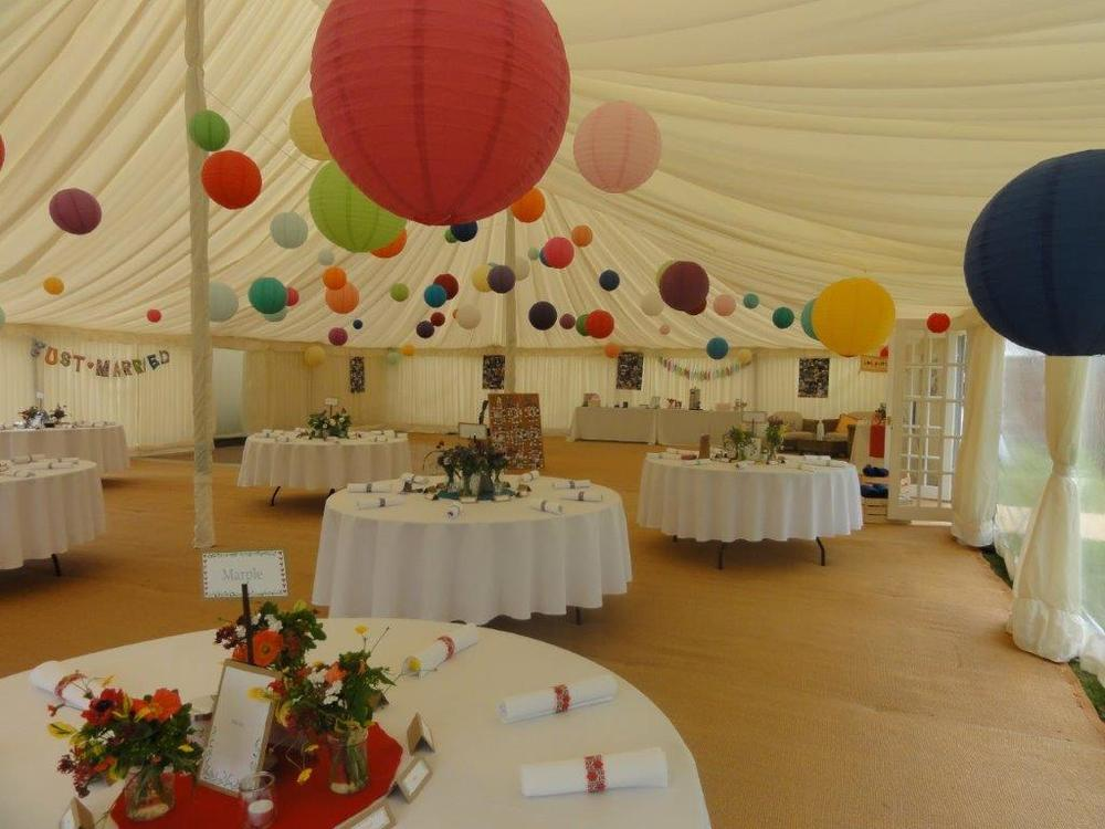 June wedding marquee interior