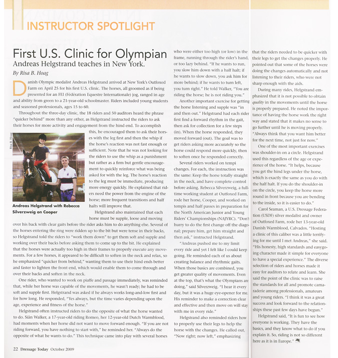 Dressage Today article about the Andreas Helgestrand Clinic.