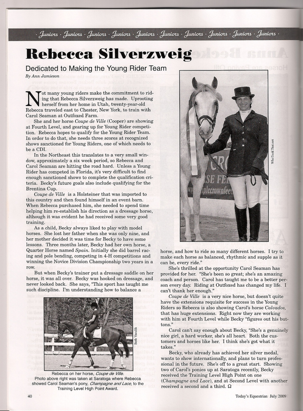 Featured in Today's Equestrian July 2009