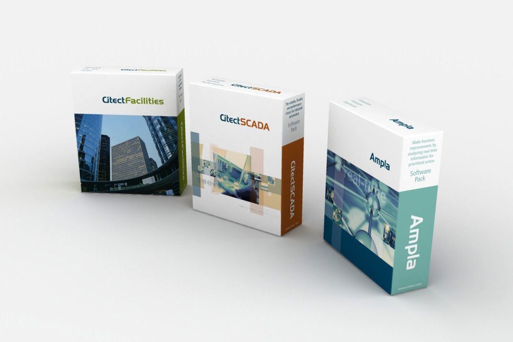 Citect Product Packaging for CitectFacilities, Citect SCADA, Ampla