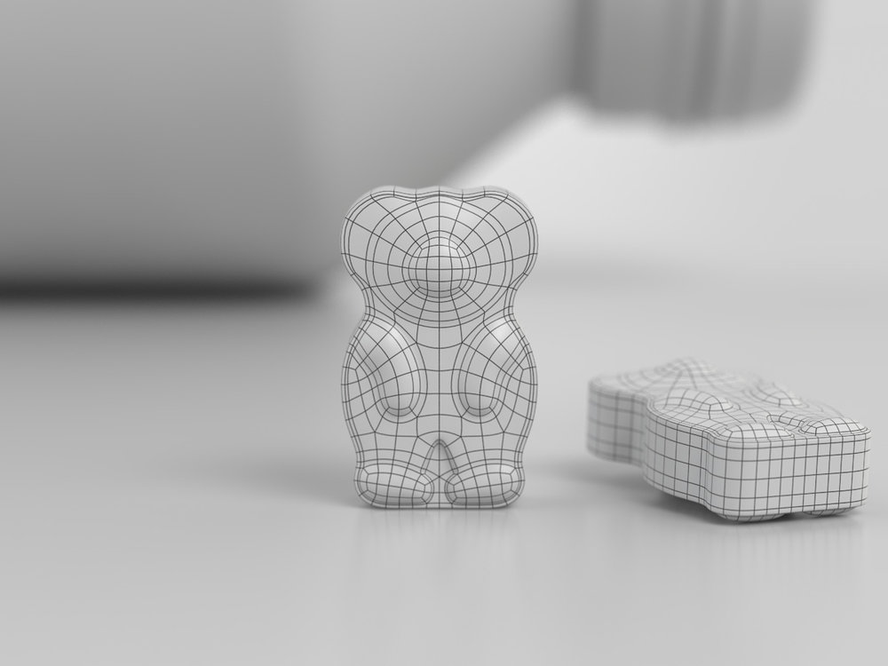 Bear tablet modelled using polygons and displacement.