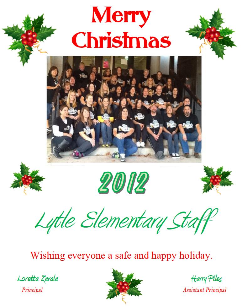 Lytle Elementary 2012 Christmas Card