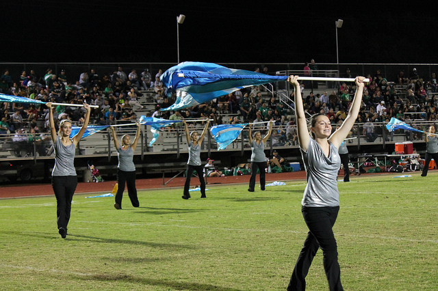 "Performing to ""Fanfare for the Third Planet"" at the game vs. Pearsall"