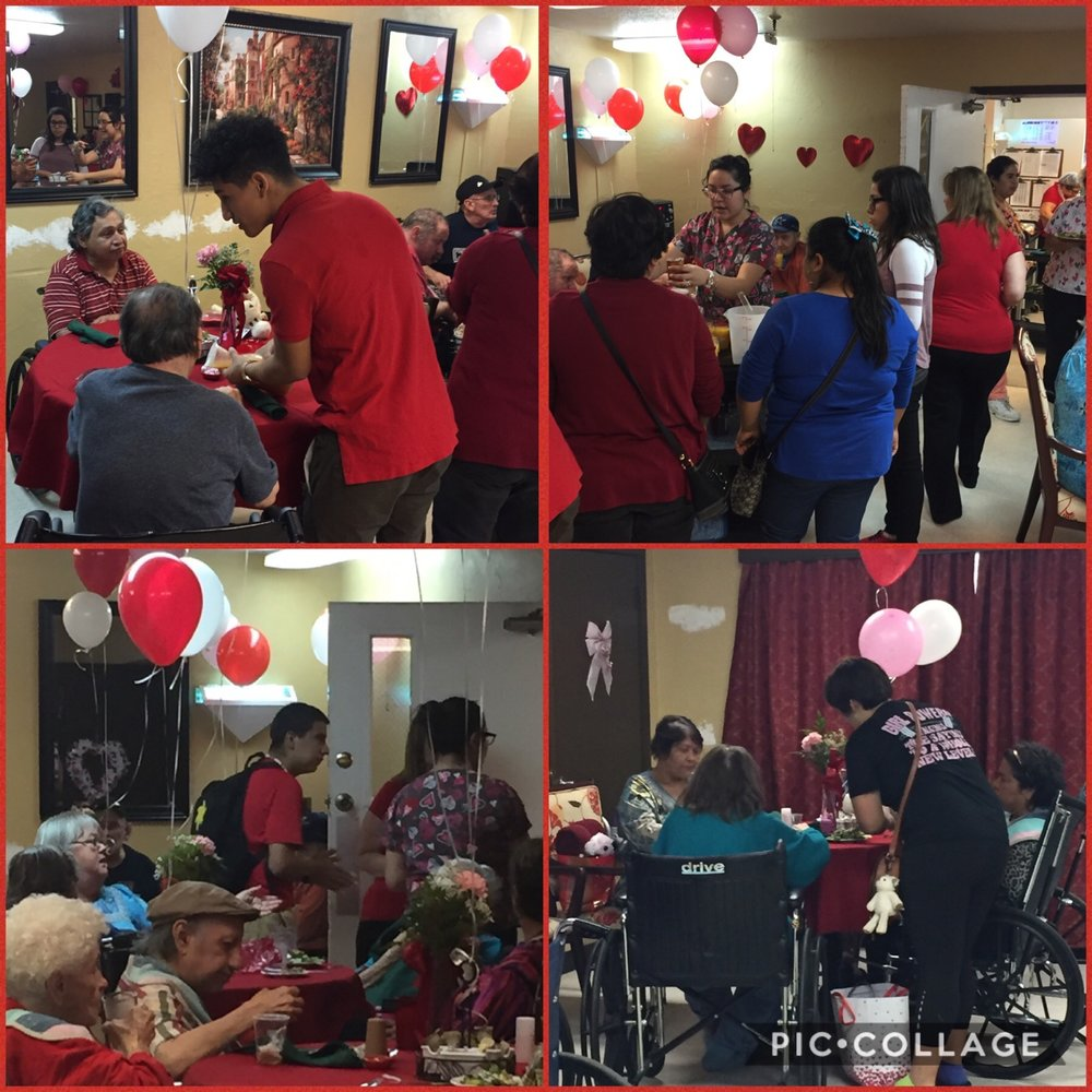 Lytle students, Memphis Medrano, Kristen Center, Jazmin Trejo, Christian Trejo, Jay Amador, and Sylvia Martinez, deliver Valentines and help serve dinner to their new senior friends at the Lytle Nursing Home.