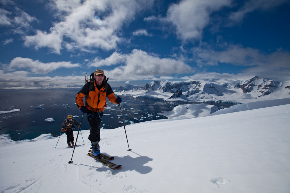 Guide Sean Brooks ski touring. Georges Point.