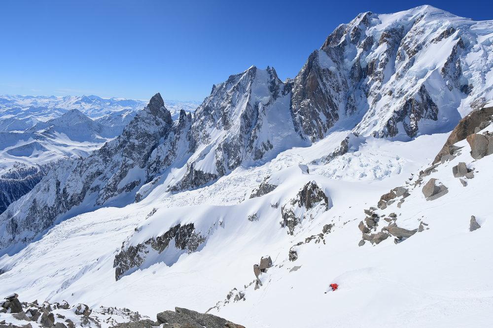 Josh Daiek skiing down to the Brenda Glacier underneath Mont Blanc.  Photo: Mattias Fredriksson