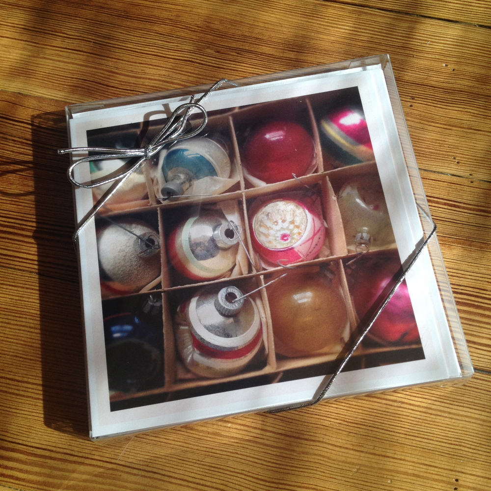 10 pack of 'Boxed Ornaments' card. 80# stock, white envelope. Butterfly stamp or equivalent postage required.