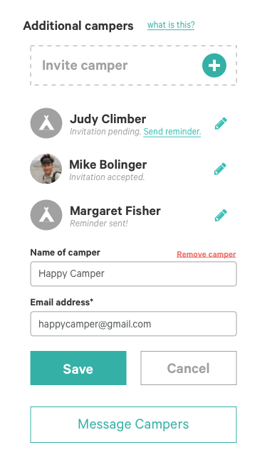 "Half of our new feature, allowing the registered camper to invite other campers to the ""upcoming trip"" page."