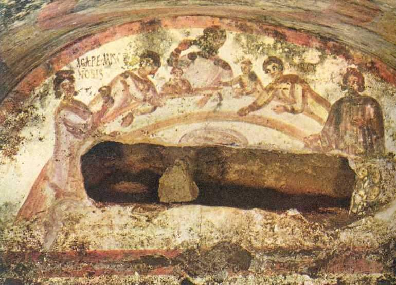 "A depiction of ""The Meal of the Seven Disciples"" (as it is often called) in catacombs denoting the resting place of a member of the Christian faith. Source:  https://goo.gl/images/Ae1fNT"