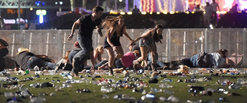 Concertgoers flee the site of an active shooting at a concert in Las Vegas on October 1, 2017. Image courtesy of  ABC News . 59 people were killed and over 500 were injured.