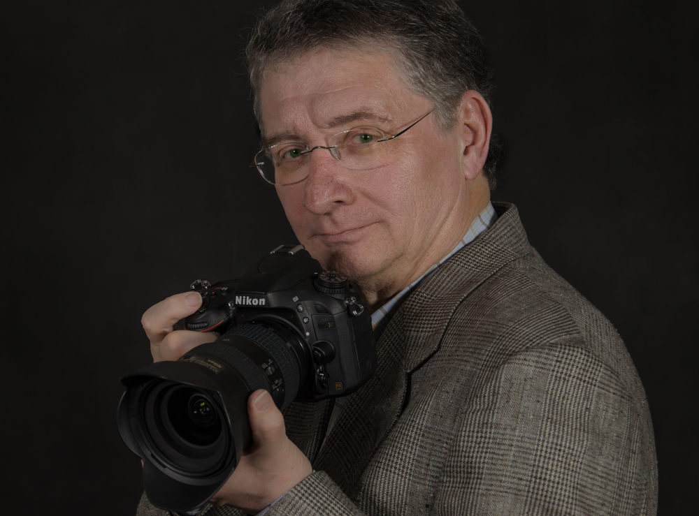 This is me at age 65 with my first full-frame camera, the Nikon D600.
