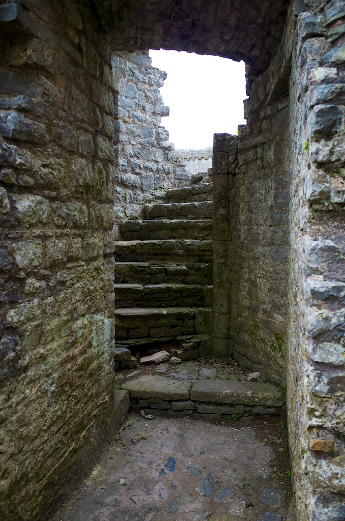 spiral stairs leading nowhere, base of a ruined tower