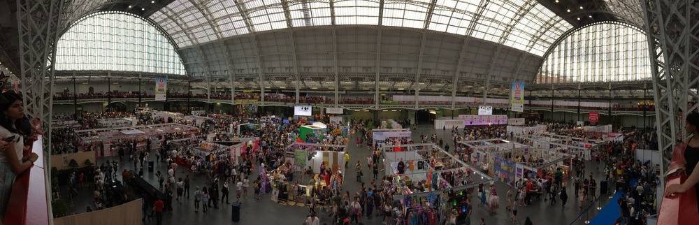 View of the exhibitor floor from the balcony