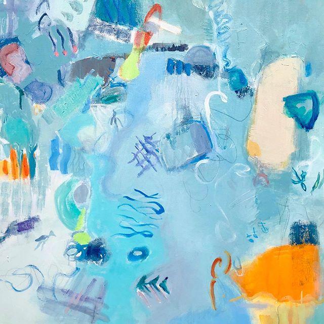 Meander, 36 x 48 #artpalmbeach2019 #abstractpainting #artislife #slowliving #observer #jolieharrisart #contemporaryart #blue #turquoise #interiordesign #sweetlife