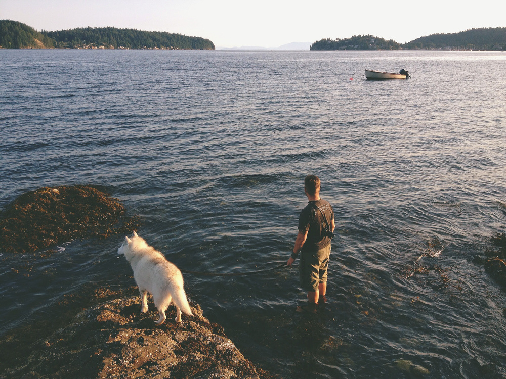 me and Koda, contemplating the nature of waves. photo by  Jennifer Picard Photography .