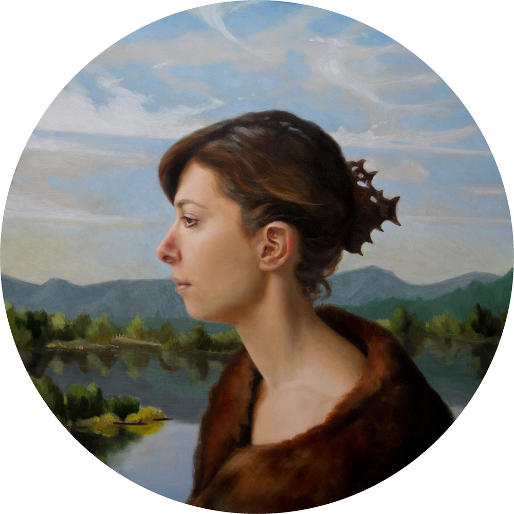 "Oil on Panel, 16"" Diameter"