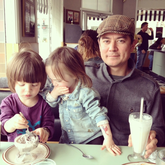 My honey and our littles, Augie and Lalou at Vic's Ice Cream in Sacramento. A must if you're ever passing through.