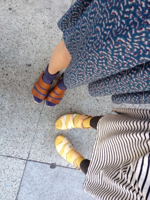 My friends  Rebecca  and  Lindsay  at our other home,  Metier.    Hansel from Basel socks sure make Rag & Bone shoes happy.