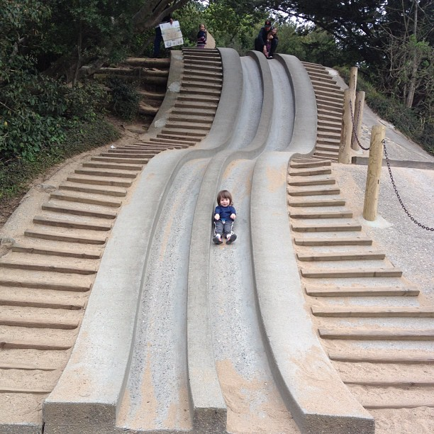 Rite of passage, cement slide at Golden Gate Park. That's my boy!