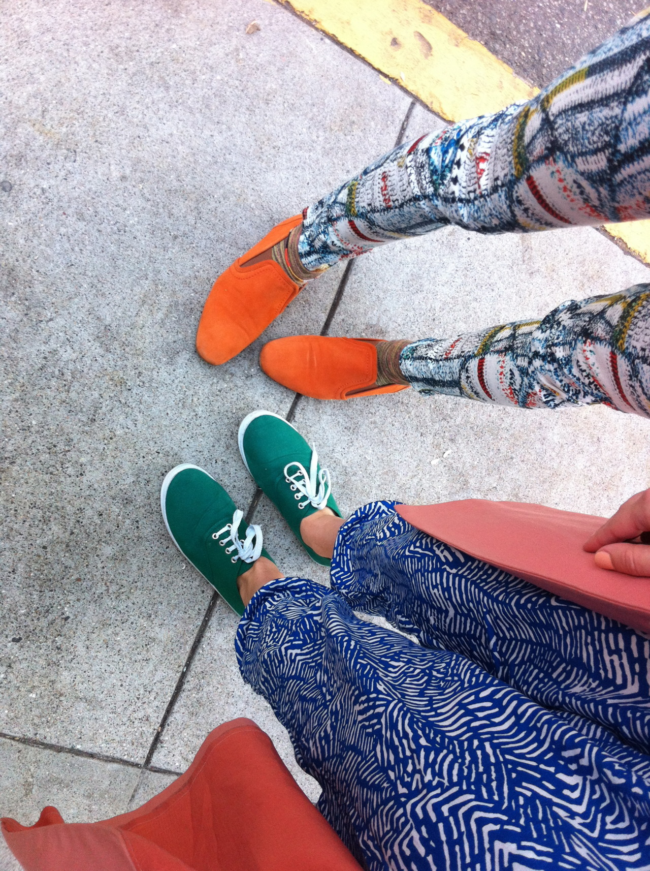My friends in printed pants and bright shoes.