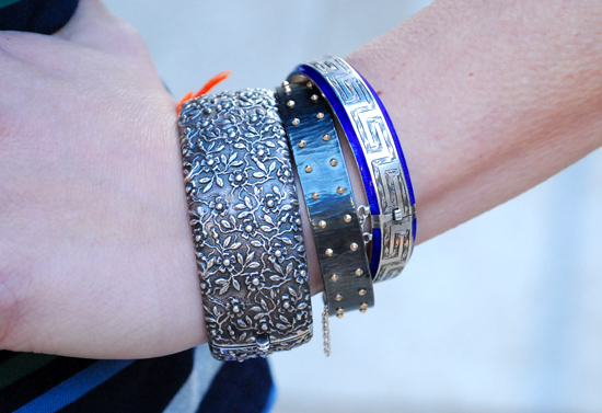 Phillip Crangi  cuff  between two antique  bangles .