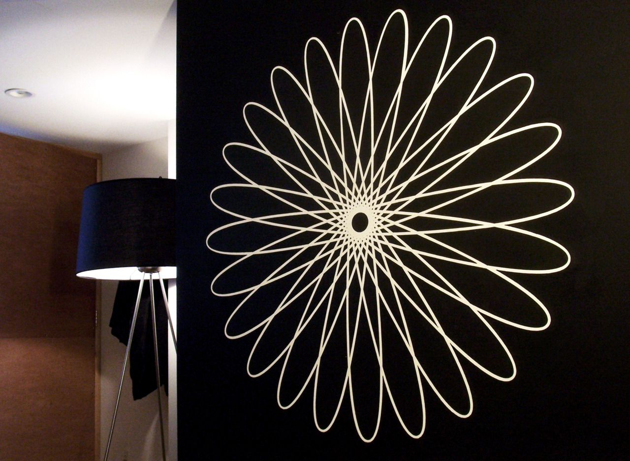 Large-scale painted spirograph.