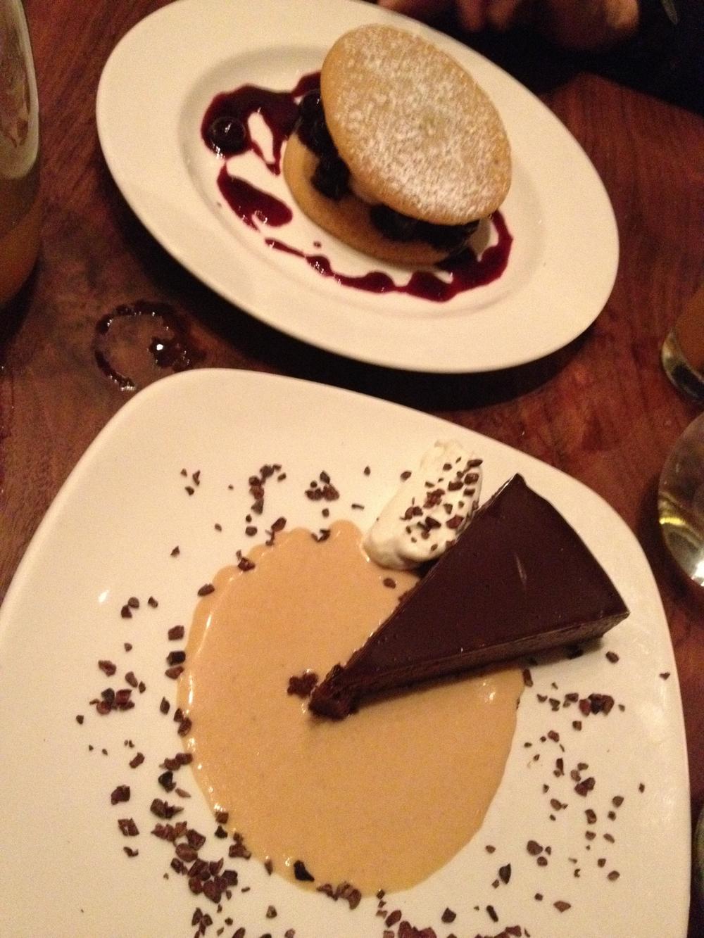 Peach Ice Cream Sandwich & Flourless Chocolate Torte