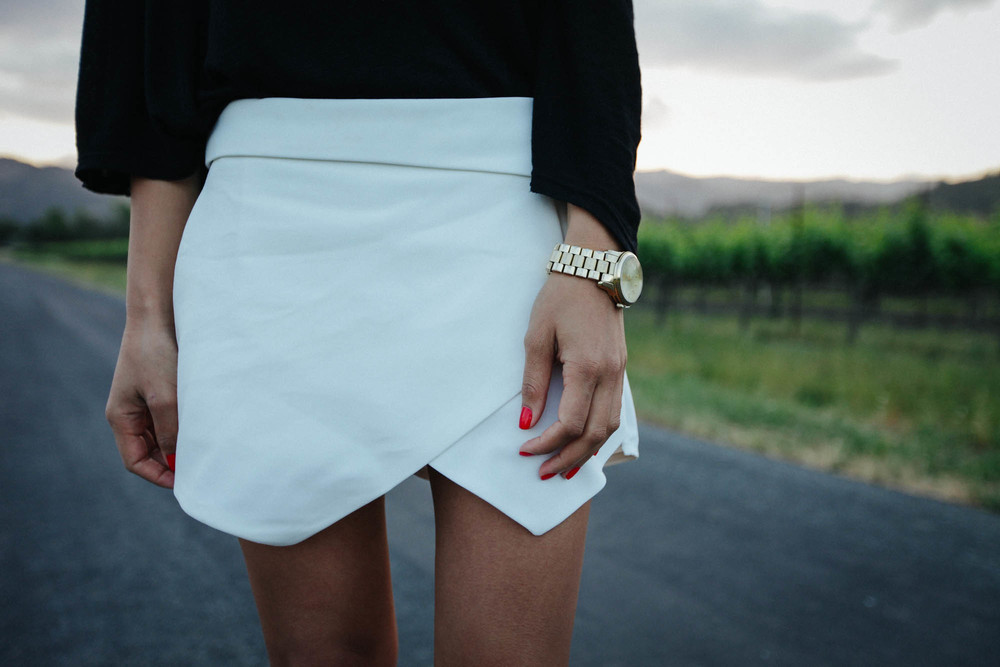 Zara skirt, LF Store top, Michael Kors watch, Ferragamo bag