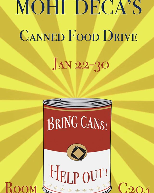 Don't forget your cans!!! Bring 10 cans for extra credit! Now through next Wednesday :)