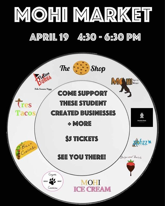 THIS FRIDAY come support these student created businesses!!! Tickets are $5 and you will get samples from these businesses and more! But a ticket at a booth at lunch this week and COME SUPPORT MONARCH DECA!!!