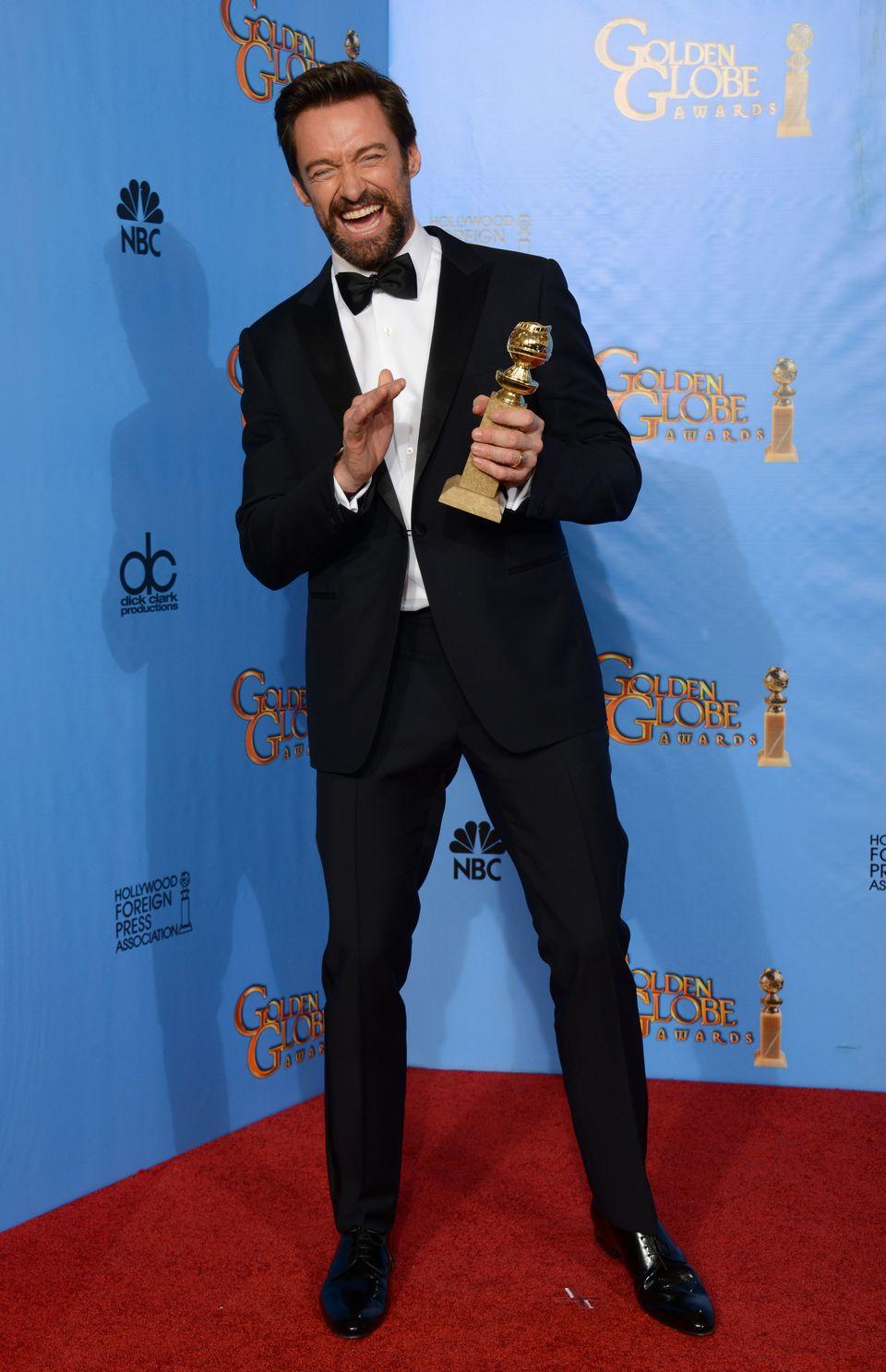 Hugh Jackman. O vencedor na categoria 'Melhor ator de comédia/musical' foi também um dos mais bem vestidos da noite. Vestindo um smoking tradicional, sem ousar nas cores nem nos tamanhos, Hugh fez bem em deixar o cavanhaque anos 90 para quebrar a seriedade.
