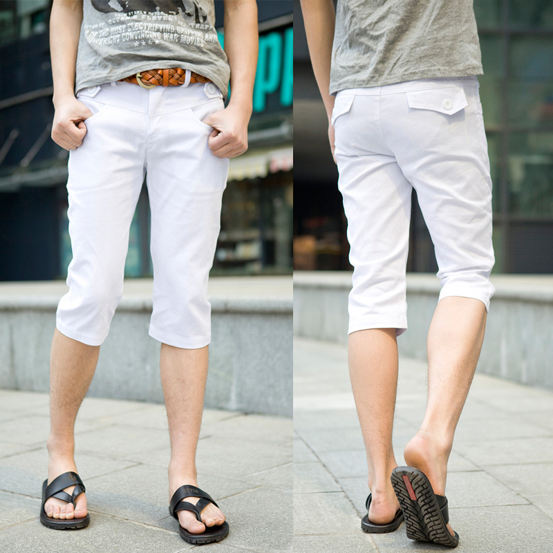 Casual-capris-Knee-length-trousers-Slim-Korean-style-Men-s-Drop-shipping-1-Piece-Summer-White.jpg