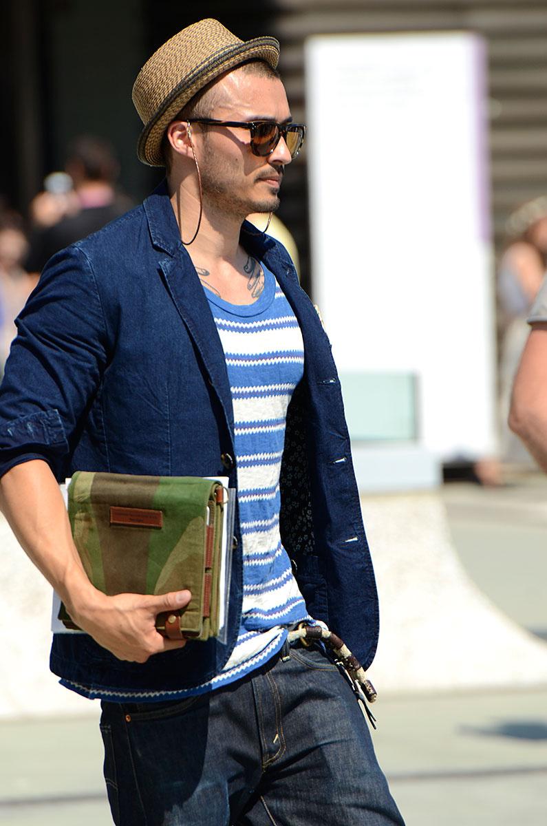 Chapéu pequeno. Daqueles só para fazer um estilo. De palha, de tecido e até de couro. Se vai vestir chapéu, melhor fazê-lo de dia e com um modelo de tamanho adequado.