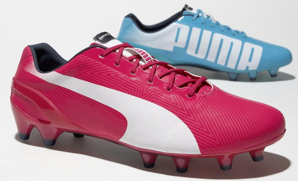 Puma EvoSpeed.  Assim como a Adidas, a Puma também criou um padrão para os seus modelos. A EvoSpeed, embora muito parecida com a EvoPower, é mais estreita para dar mais velocidade ao atleta. Sergio Agûero e Olivier Giroud serão dois a experimentar esse modelo.