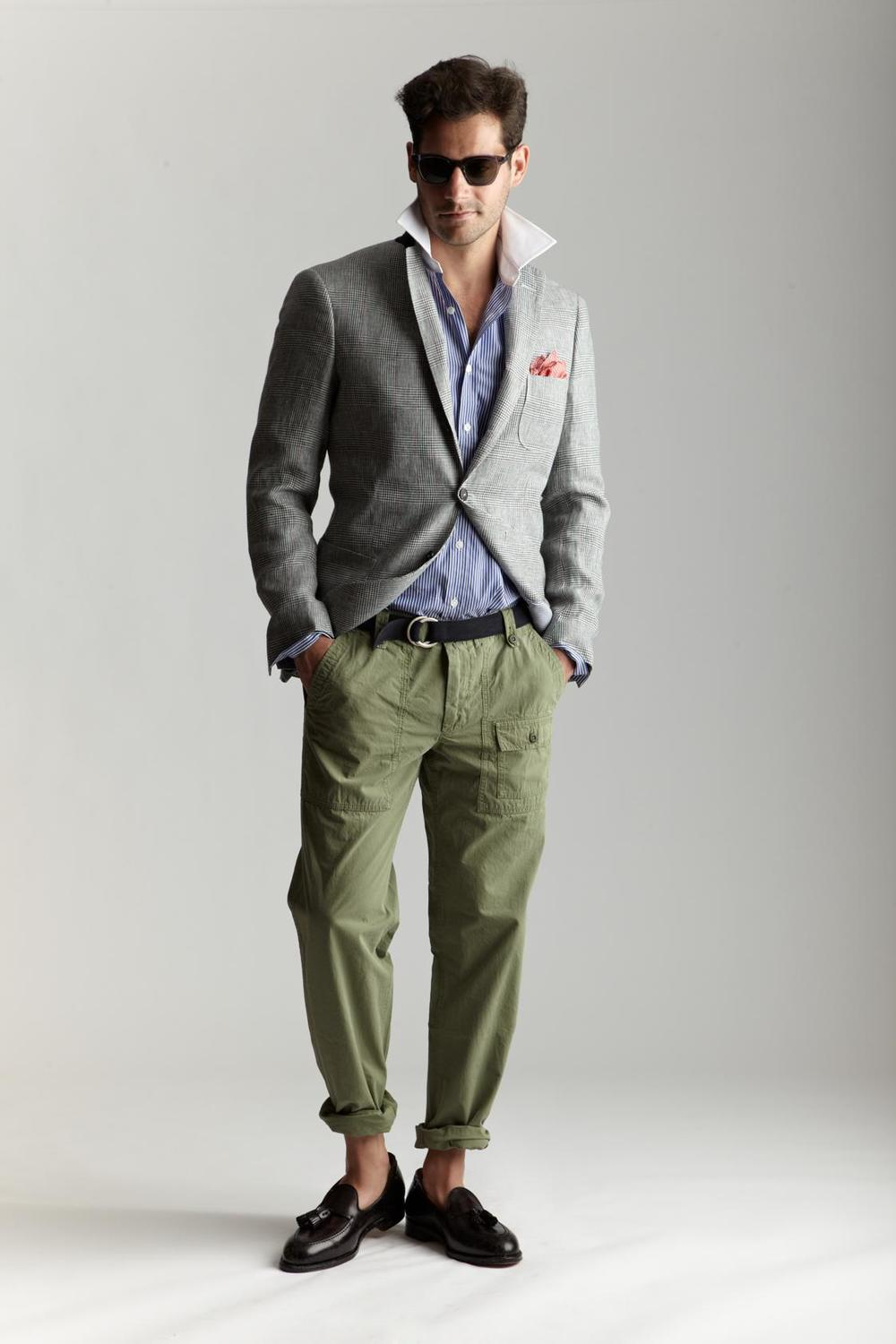 Michael-Bastian-x-Barneys-SS12-grey-jacket-cargo-green-pants.jpg