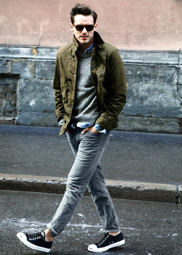 mens-style-how-to-wear-faded-denim-jeans-converse-purcells-grey-sweater-denim-shirt-army-green-jacket-sunglasses.jpg