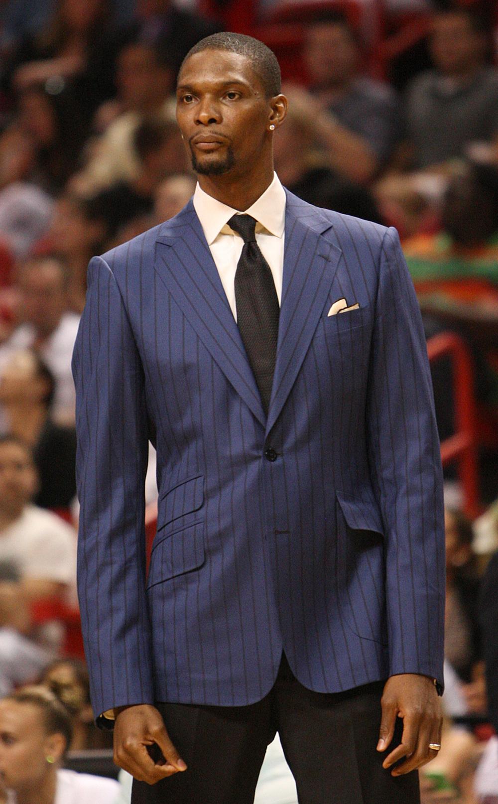 Chris Bosh Dois títulos de NBA falam bem alto nessa hora. O reconhecimento e a fama do pivô do Miami Heat fizeram ele aprimorar o guarda-roupas.